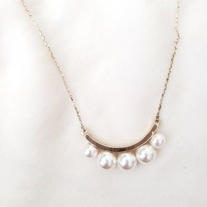 Loft Gold Tone Necklace with Faux Pearls.